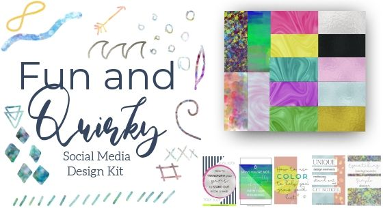 Fun and Quirky Social Media Design Kit comes with over 80 design elements, including backgrounds, vector graphics, iridescent and metallic swatches, and pin templates to make your pin designs easy and unique, just like you and your business.