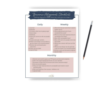 Get aligned af in your business, using this easy to follow daily, weekly, and monthly checklist that will keep you up to date and in alignment with your business, magical lady boss.